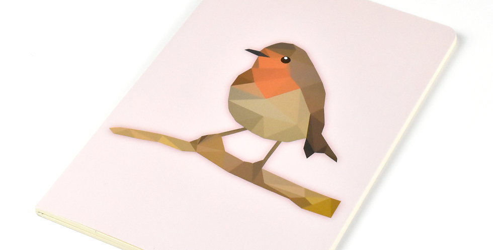 Low-Poly Art - Robin A5 DIN Notebook