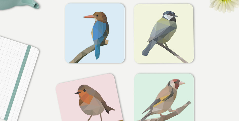 Set of 4 Low-Poly Birds Coasters