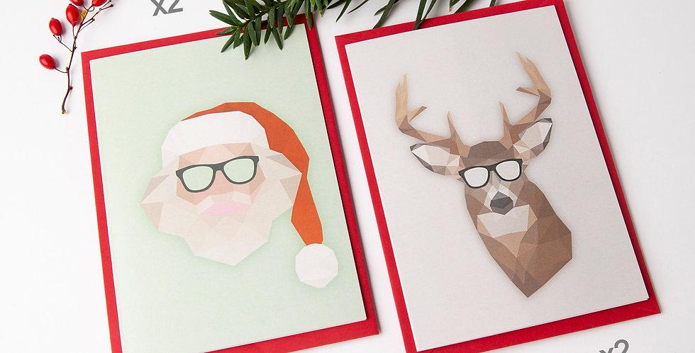 Set Of 4 Low Poly Santa + Christmas deer  - Greeting Cards + Envelopes