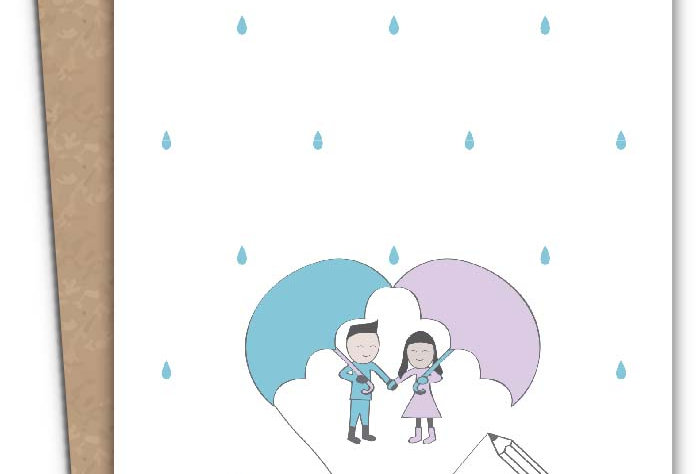 I Love U - A Couple in the Rain + Envelope of your choice.