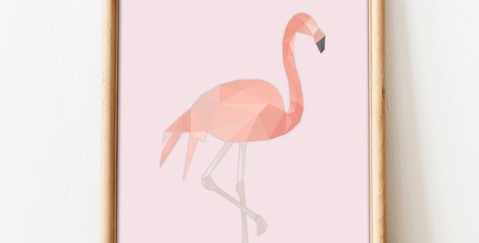 Low Poly Art Flamingo Print