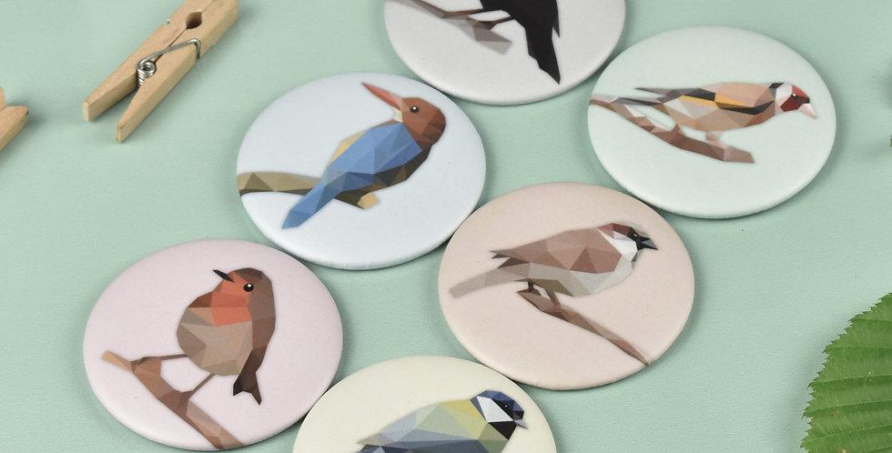Magnet button Set of 6 Birds