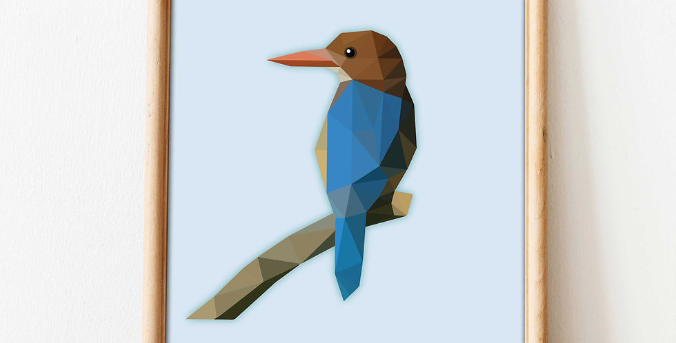 Kingfisher Low-Poly Art A4 Poster