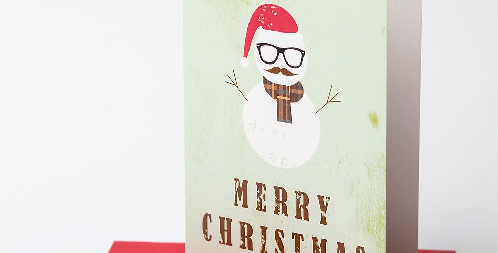 Hipster Snowman Merry Christmas + Envelope of your choice.