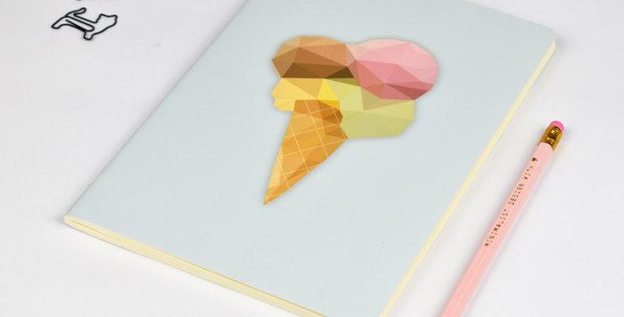 Ice Cream - Geometric Low Poly Art DIN A5 Notebook.
