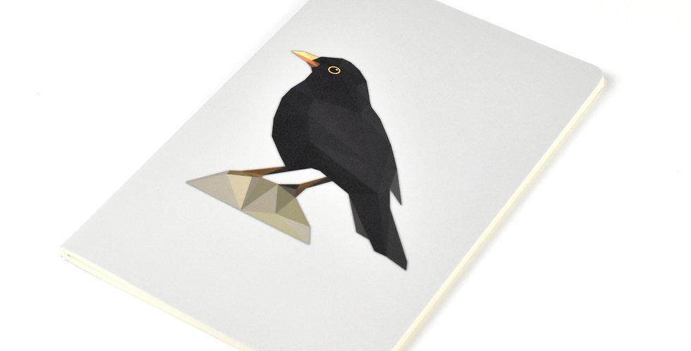 Common Blackbird - Geometric Low Poly Art DIN A5 Notebook