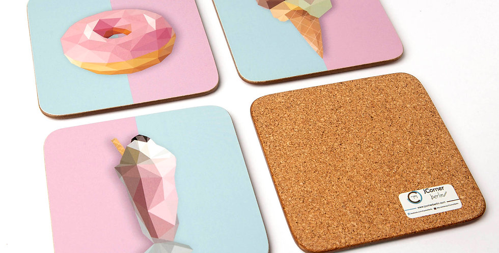 Sweets Coasters Set of 4 Low-Poly Art
