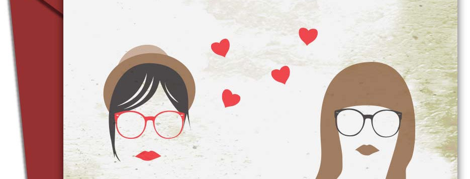 Hipster Lesbian Love - Greeting Card