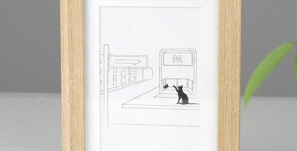 Cat in the city *FRAMED* metro