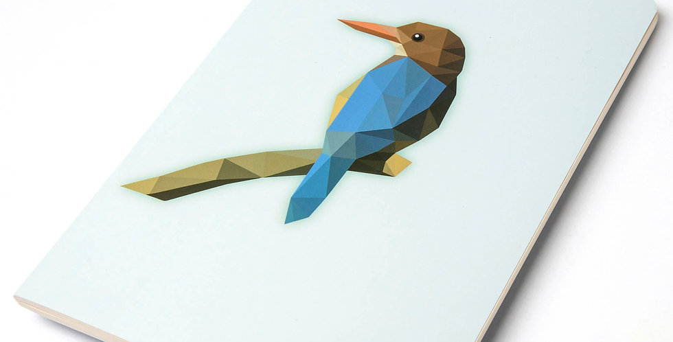 Low-Poly Art Kingfisher  A5 DIN Notebook - Blank