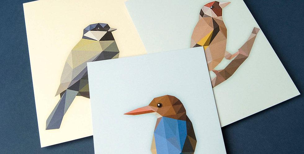Set of 4 Low poly art bird Postcards