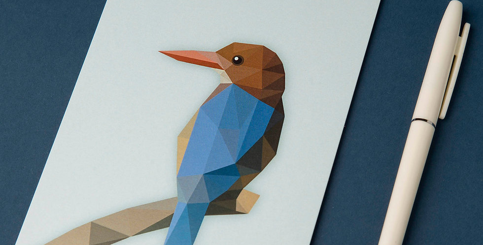 White-breasted Kingfisher - Low poly art Postcard