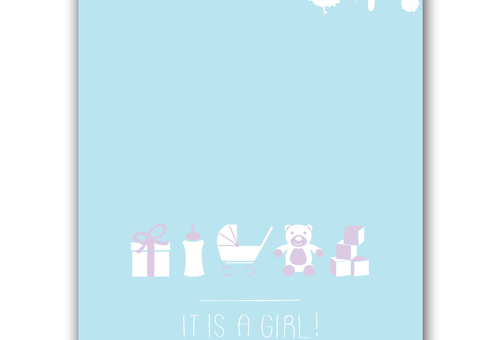 It is a Girl! Postcard for new baby girl.