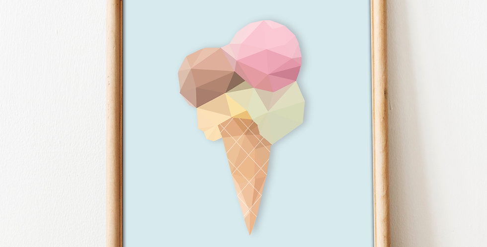 Low Poly Ice Cream Print.