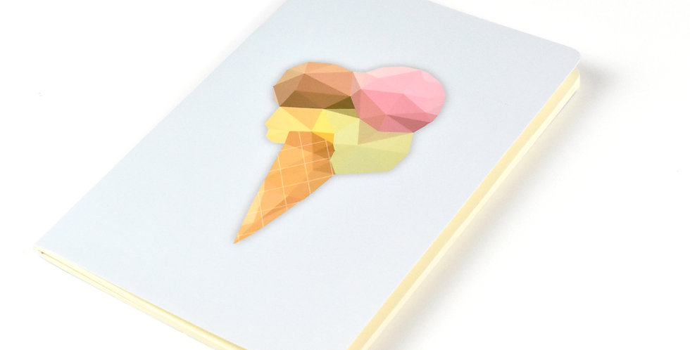 Ice Cream - Geometric Low Poly Art DIN A5 Notebook.
