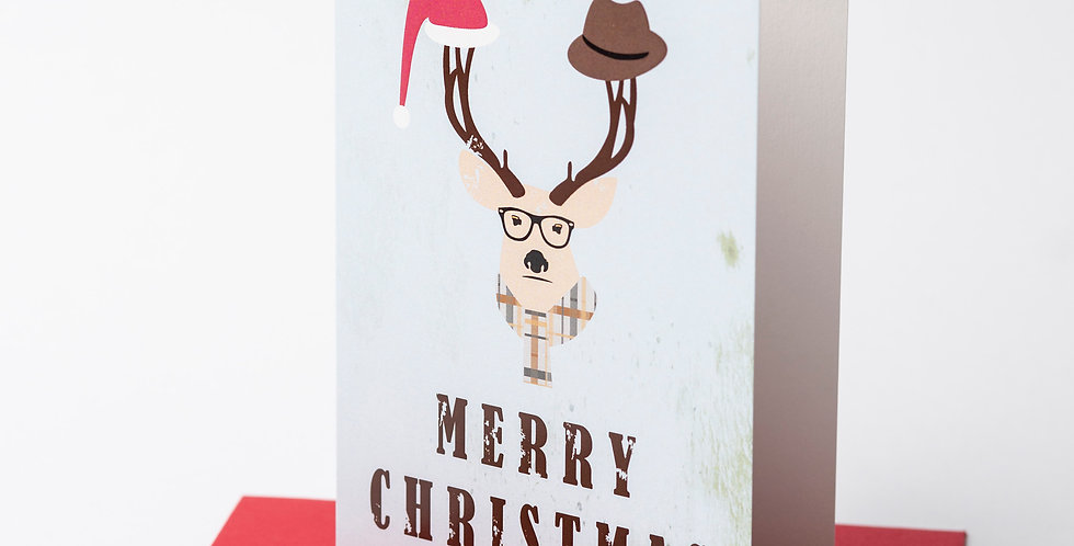 Hipster Deer - Merry Christmas + Envelope of your choice.