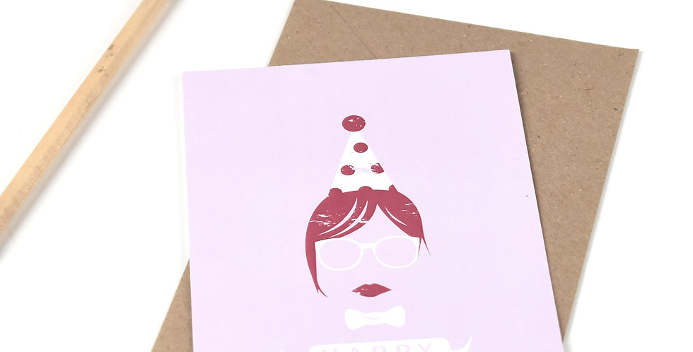 Happy Hipster - Birthday Postcard :)