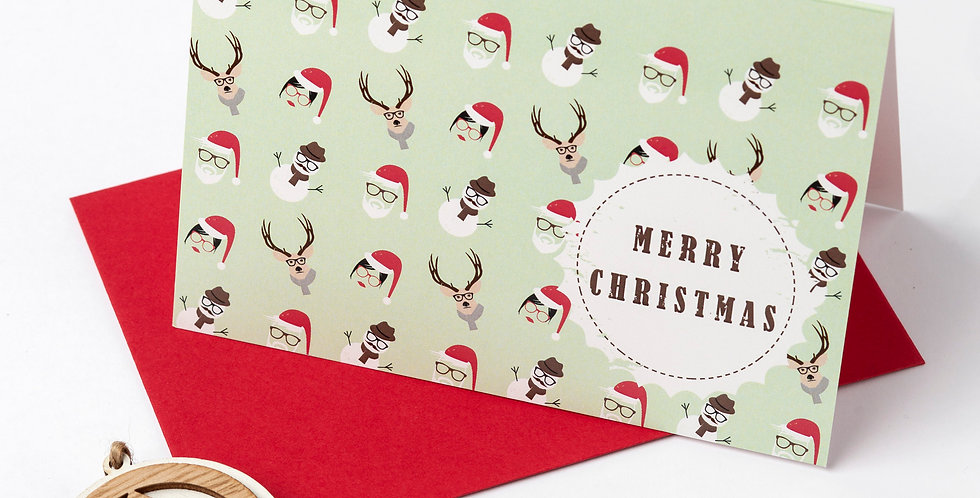 Merry Christmas - Hipster Pattern Greeting Card + Envelope of your choice.