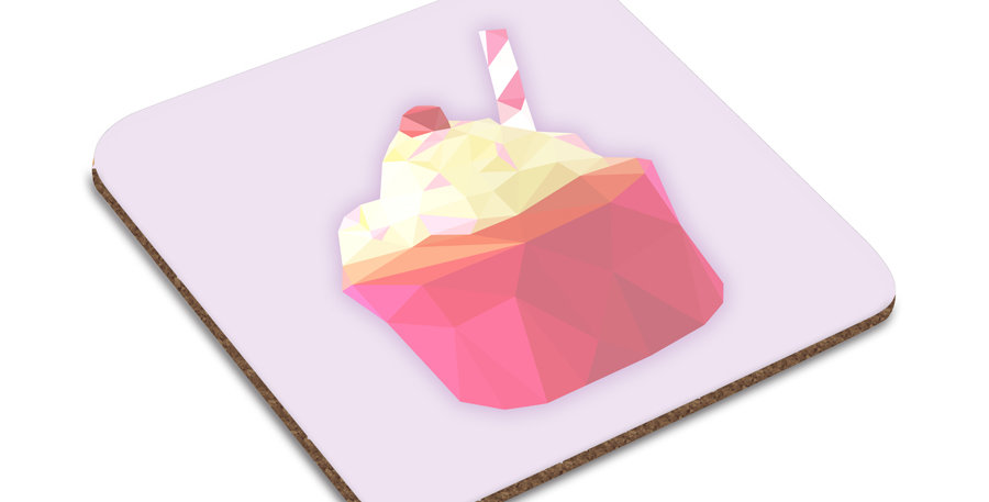 Low-Poly Art - Cupcake Coaster