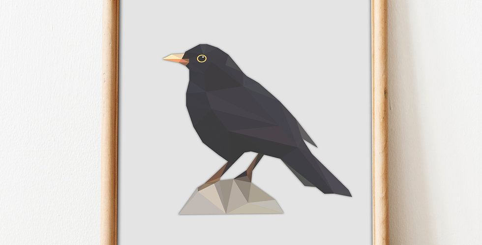 Low Poly Art Common Blackbird Print