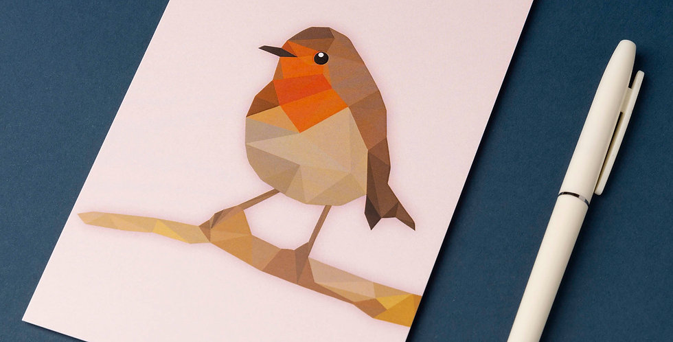 European Robin -Low poly art - Post card