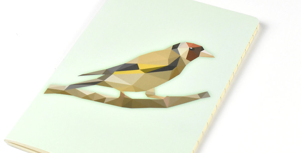 Low-Poly Art Goldfinch A5 DIN Notebook - Lined