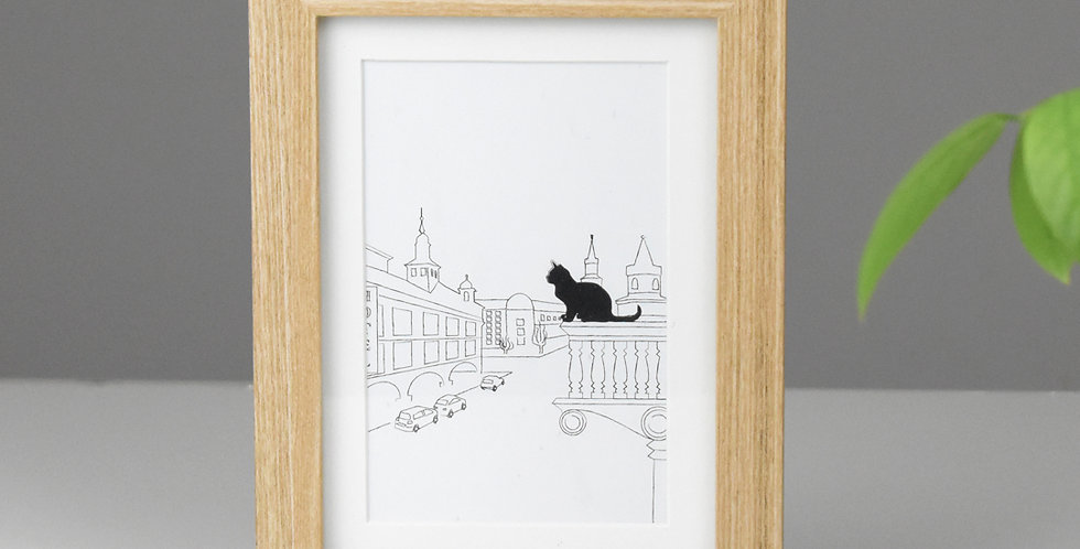 Cat in the city *FRAMED* balcony