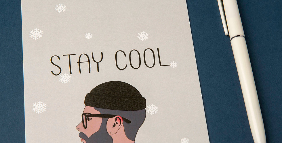 Stay Cool - Hipster Beanie Postcard - Only for cool people :)