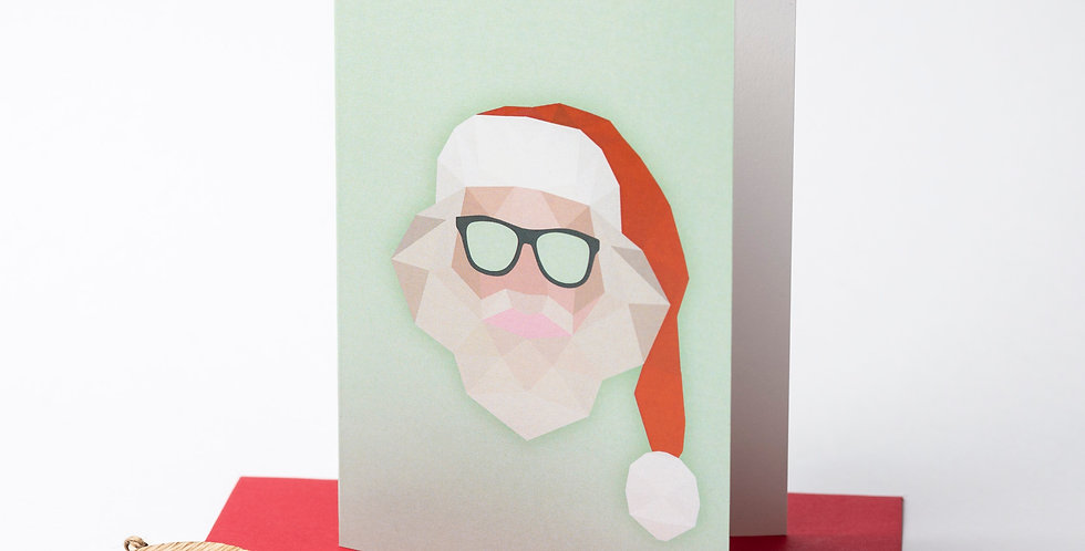 Low Poly Santa - Greeting Card + Envelope