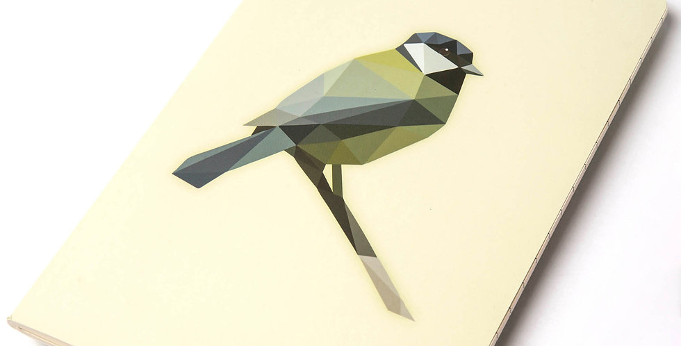 Low-Poly art Great Tit Notebook DIN A5 - Lined