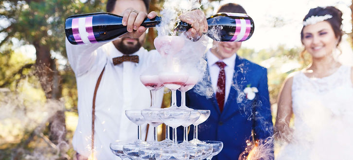Wedding Bartender pouring Champagne