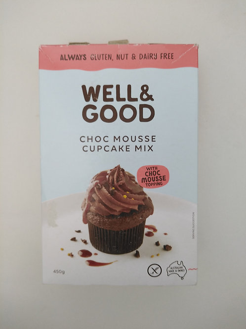 Well & Good Choc Mousse Cup Cake Mix + Mousse Frosting 450g