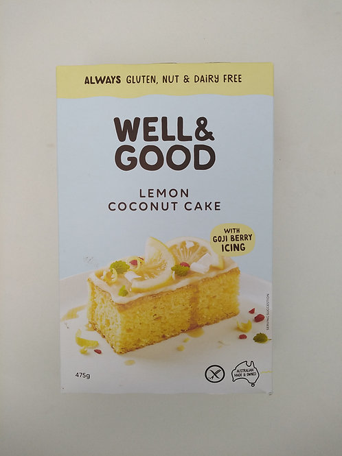 Well & Good Lemon Coconut Cake Mix + Gojiberry Icing 475g