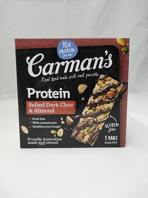Carmans Protein Salted Dark Choc & Almond Bars 5 bars 210g