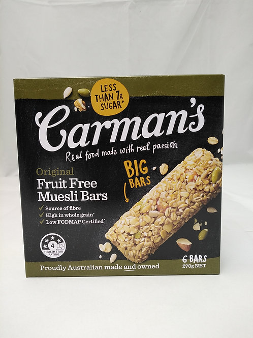 Carmans Original Fruit Free Muesli Bars 6 bars 270g