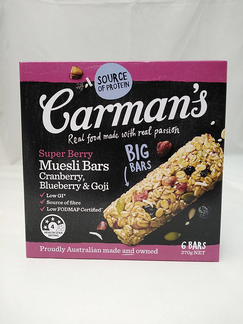 Carmans Superberry Cranberry, blueberry & goji 6 bars 270g