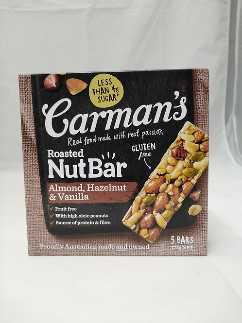 Carmans Roasted Nut bar almond hazelnut vanilla 5 bars 175g