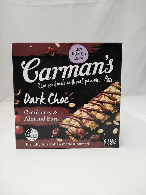 Carmans Dark Choc Cranberry & Almond bars 6 bars 210g