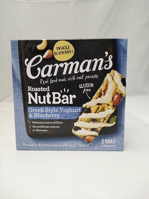 Carmans nut bar greek style yogurt blueberry 5 bars 160g
