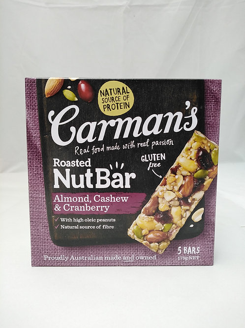 Carmans Roasted Nut bar almond cashew cranberry 5 bars 175g