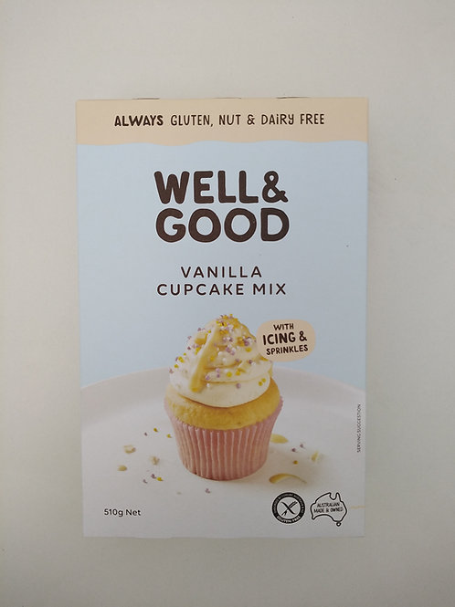 Well & Good Cup Cake Mix + Vanilla Icing 510g