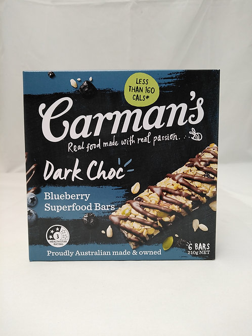 Carmans Dark Choc Blueberry superfood bars 6 bars 210g
