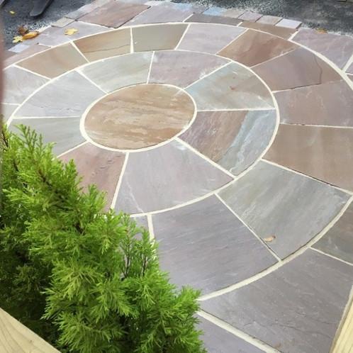 Truffle Premium Indian Sandstone Patio Paving Slabs Stone Circle 2.4 ...
