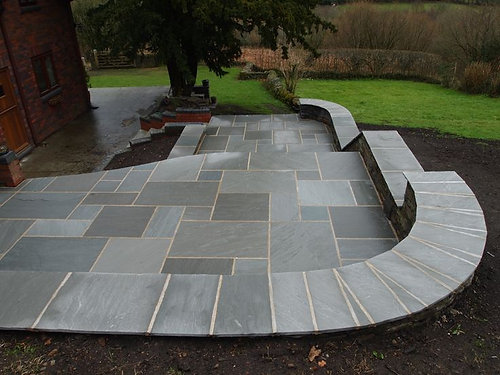 Storm Grey Premium Indian Sandstone Mixed (19.1m2) Patio Paving Slabs Stone