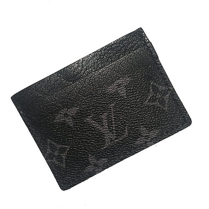 Customizable Authentic Upcycled Black LV Four Pocket Card Holder