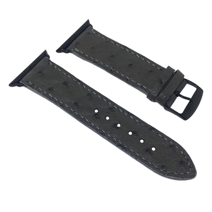 Made-to-Order Genuine Grey Ostrich Watch Straps