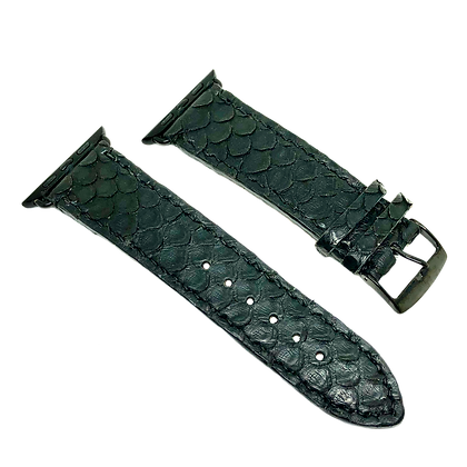 Made-to-Order Black Python Apple Watch Straps