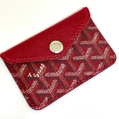 READY-TO-SHIP Vintage Red Goyard Snap Card Holder
