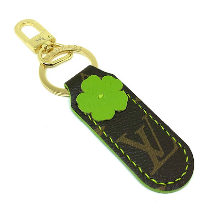 READY-TO-SHIP Upcycled LV Lime Green Flower Keychain