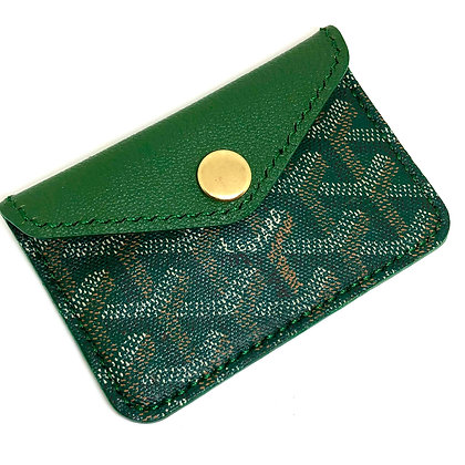 READY-TO-SHIP Green Goyard Snap Card Holder